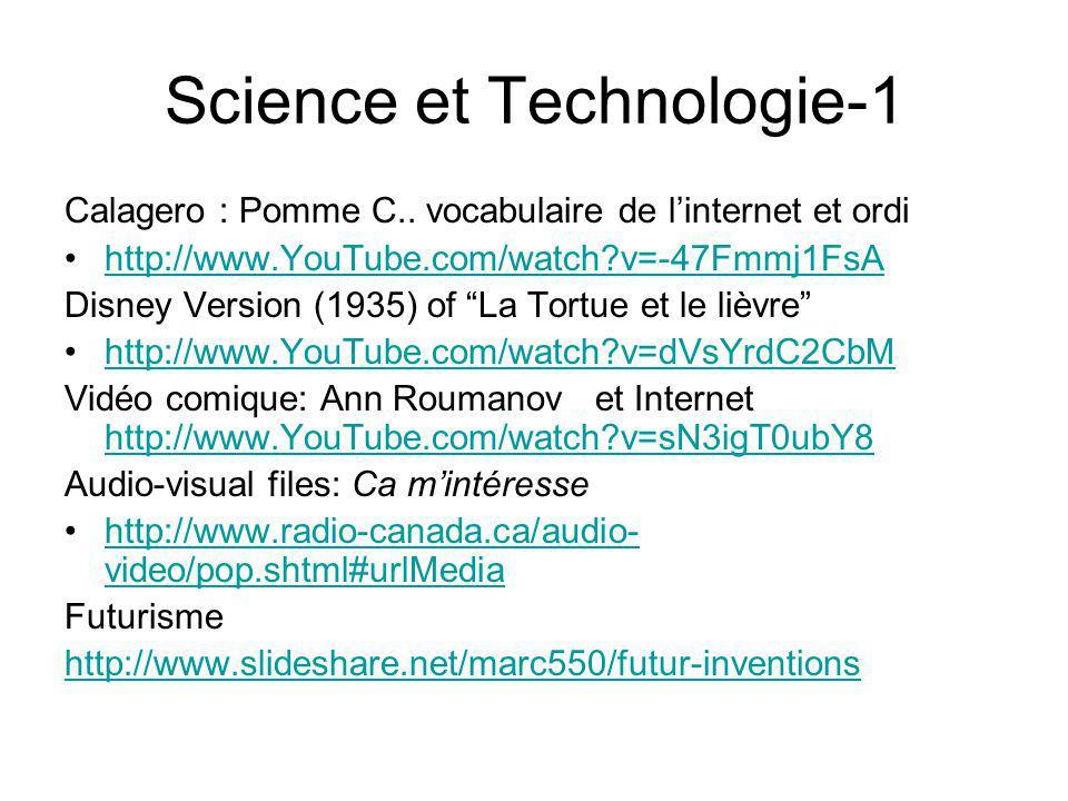 Science et Technologie-1 Calagero : Pomme C.. vocabulaire de linternet et ordi http://www.YouTube.com/watch?v=-47Fmmj1FsA Disney Version (1935) of La