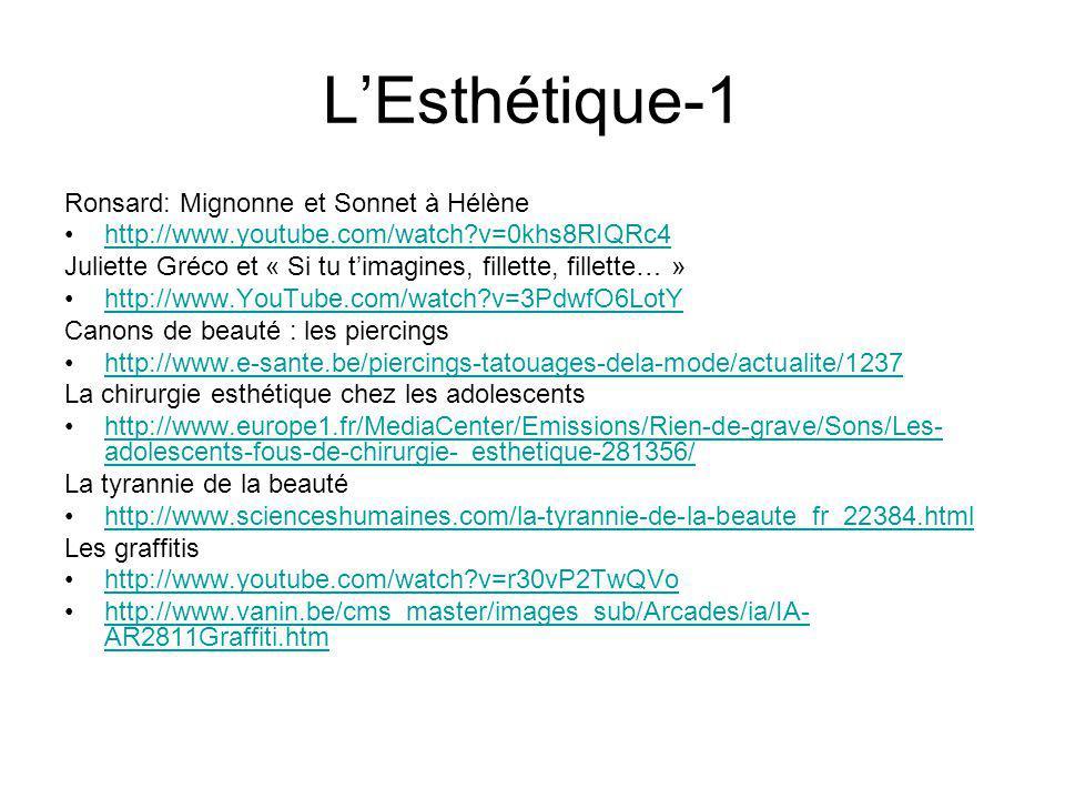 LEsthétique-1 Ronsard: Mignonne et Sonnet à Hélène http://www.youtube.com/watch?v=0khs8RIQRc4 Juliette Gréco et « Si tu timagines, fillette, fillette…
