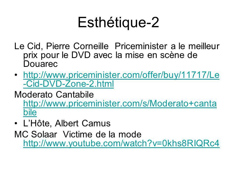 Esthétique-2 Le Cid, Pierre Corneille Priceminister a le meilleur prix pour le DVD avec la mise en scène de Douarec http://www.priceminister.com/offer