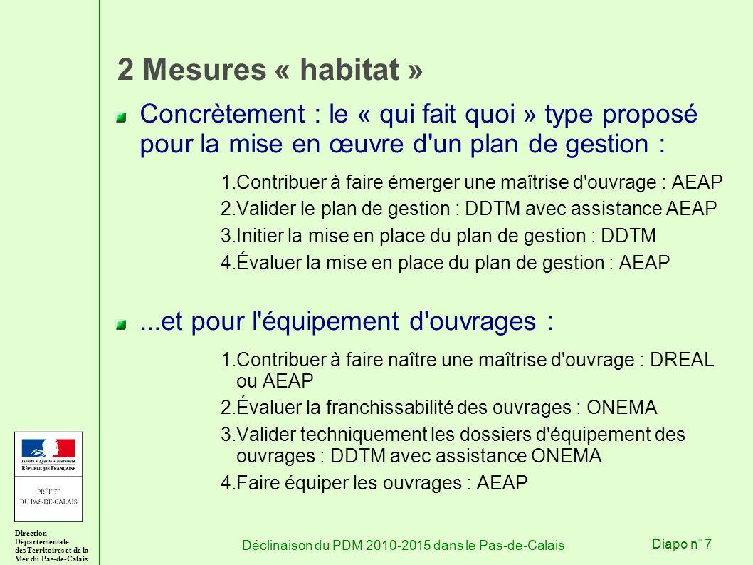 Direction Départementale des Territoires et de la Mer du Pas-de-Calais Déclinaison du PDM 2010-2015 dans le Pas-de-CalaisDiapo n° 7 2 Mesures « habitat » Concrètement : le « qui fait quoi » type proposé pour la mise en œuvre d un plan de gestion : 1.Contribuer à faire émerger une maîtrise d ouvrage : AEAP 2.Valider le plan de gestion : DDTM avec assistance AEAP 3.Initier la mise en place du plan de gestion : DDTM 4.Évaluer la mise en place du plan de gestion : AEAP...et pour l équipement d ouvrages : 1.Contribuer à faire naître une maîtrise d ouvrage : DREAL ou AEAP 2.Évaluer la franchissabilité des ouvrages : ONEMA 3.Valider techniquement les dossiers d équipement des ouvrages : DDTM avec assistance ONEMA 4.Faire équiper les ouvrages : AEAP