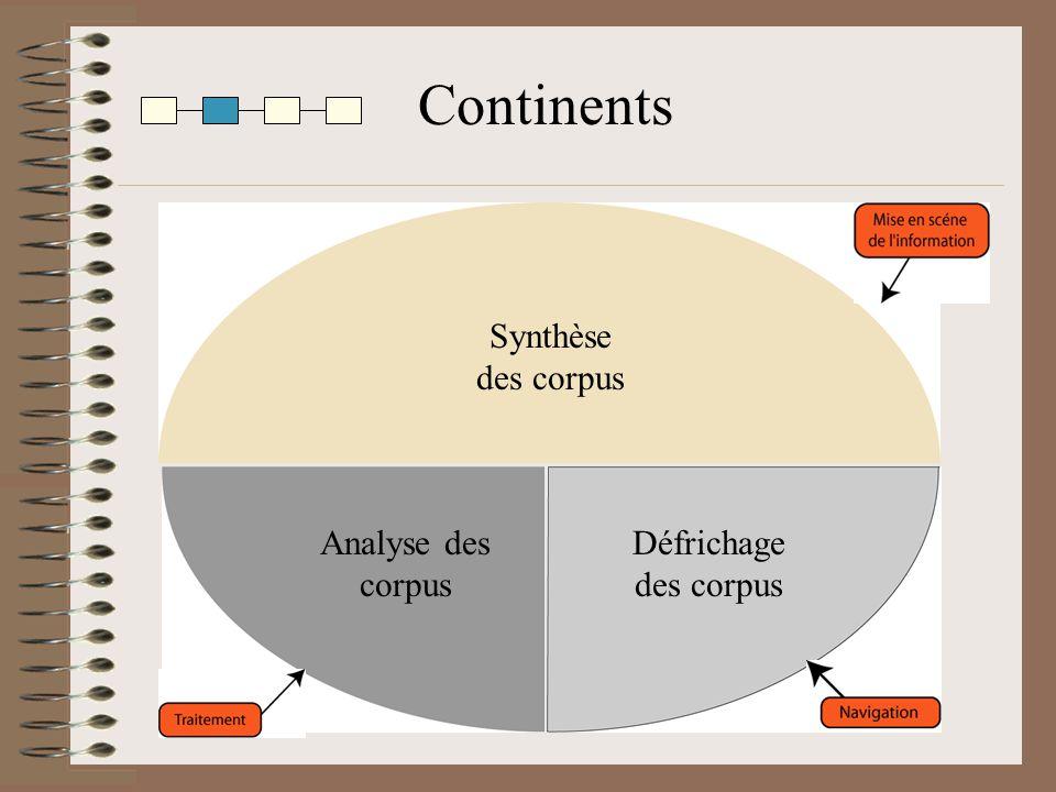 Continents Analyse des corpus Défrichage des corpus Synthèse des corpus