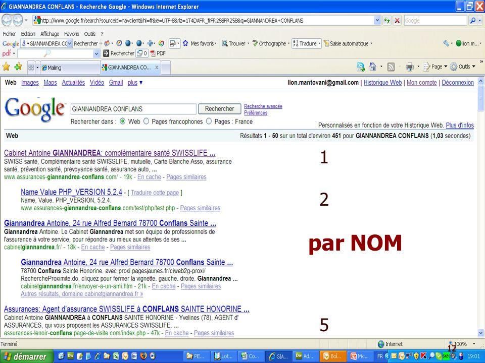 A.A.2.C. par NOM : Présentation Google - AIBT - le 5 Mars 2009 AA2C – Té! : 09 60 35 40 19 12 512 5 par NOM 12