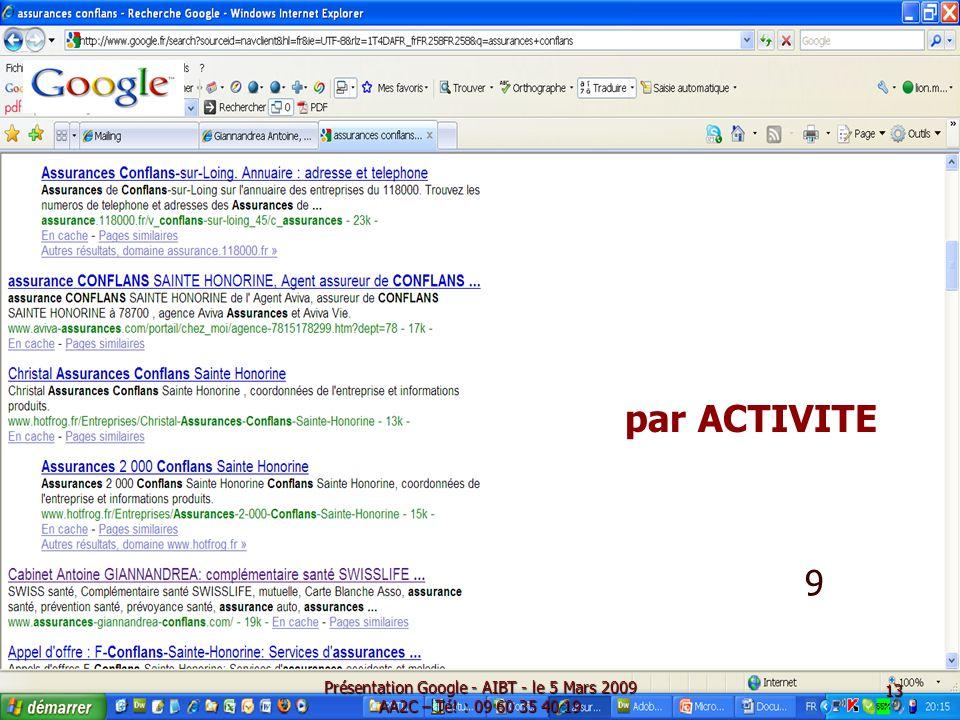 Présentation Google - AIBT - le 5 Mars 2009 AA2C – Té! : 09 60 35 40 19 9 par ACTIVITE 13