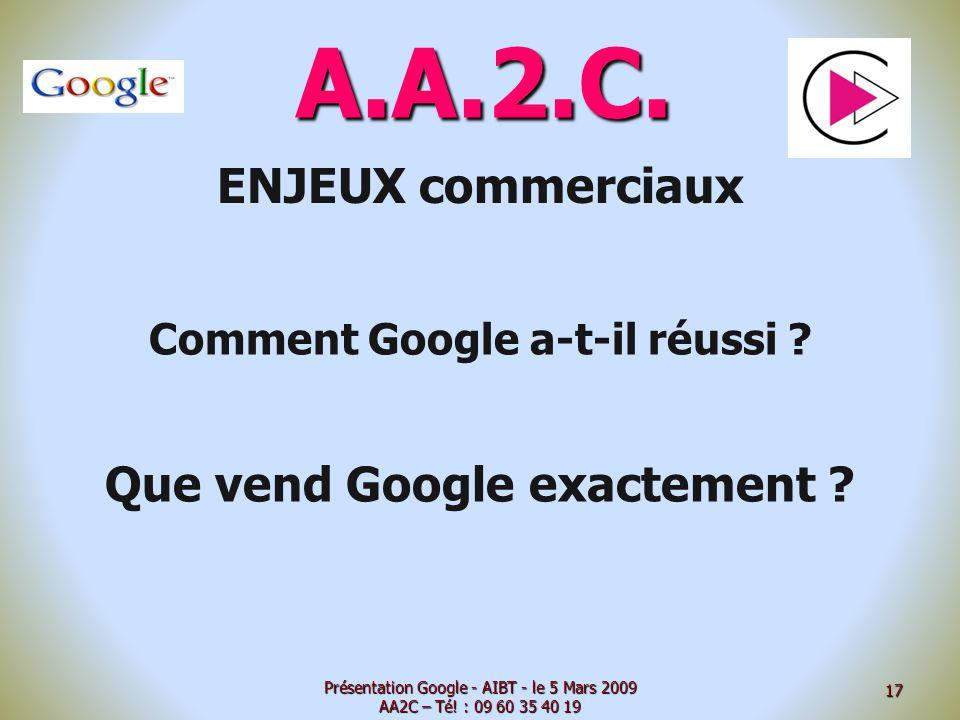 A.A.2.C. ENJEUX commerciaux Comment Google a-t-il réussi ? Que vend Google exactement ? Présentation Google - AIBT - le 5 Mars 2009 AA2C – Té! : 09 60