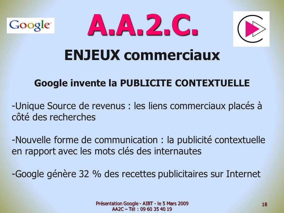 A.A.2.C. ENJEUX commerciaux Google invente la PUBLICITE CONTEXTUELLE -Unique Source de revenus : les liens commerciaux placés à côté des recherches -N