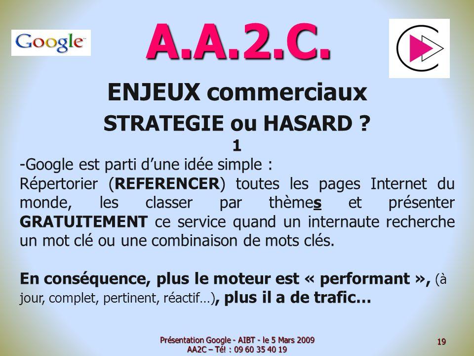 A.A.2.C. ENJEUX commerciaux STRATEGIE ou HASARD ? 1 -Google est parti dune idée simple : Répertorier (REFERENCER) toutes les pages Internet du monde,