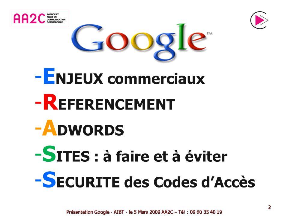 -E-E NJEUX commerciaux -R-R EFERENCEMENT -A-A DWORDS -S-S ITES : à faire et à éviter -S-S ECURITE des Codes dAccès Présentation Google - AIBT - le 5 M