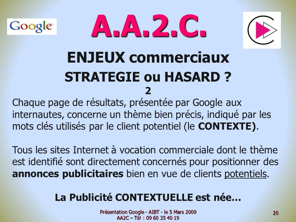 A.A.2.C. ENJEUX commerciaux STRATEGIE ou HASARD ? 2 Chaque page de résultats, présentée par Google aux internautes, concerne un thème bien précis, ind