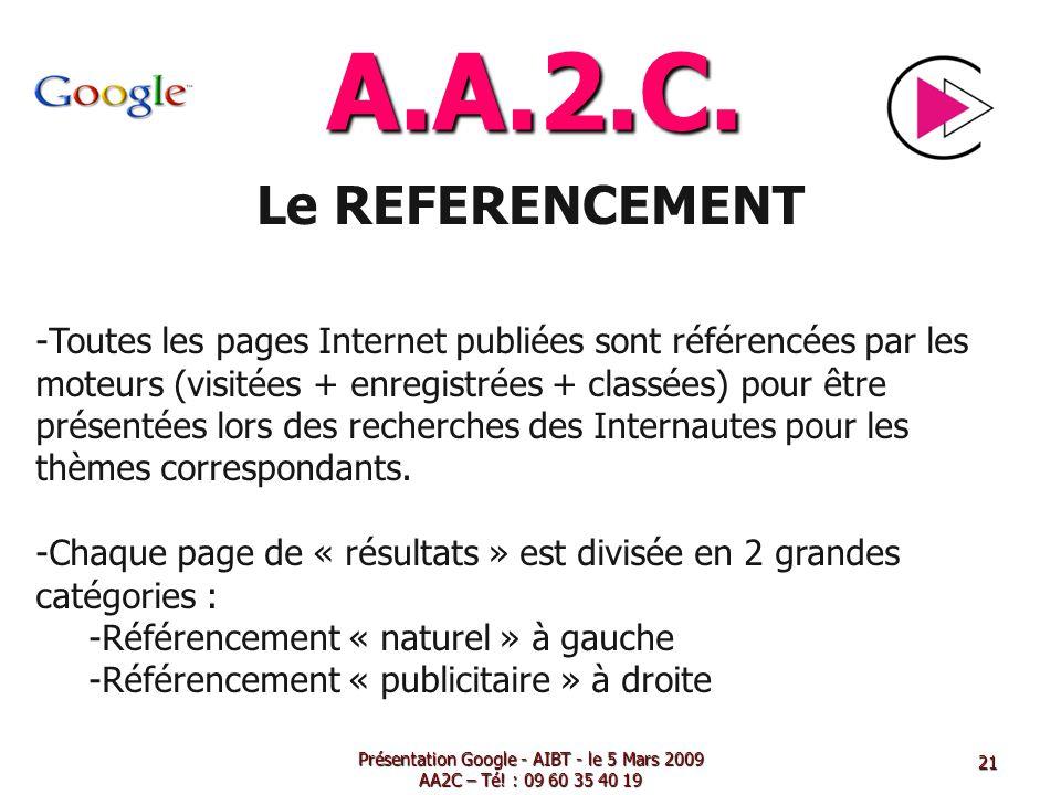 A.A.2.C. Le REFERENCEMENT -Toutes les pages Internet publiées sont référencées par les moteurs (visitées + enregistrées + classées) pour être présenté