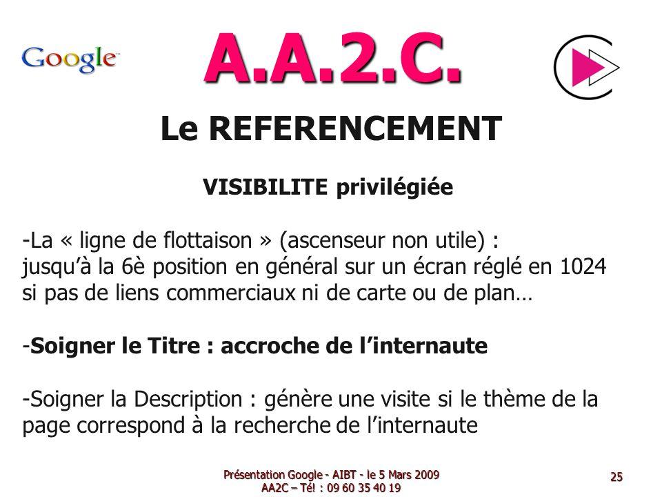 A.A.2.C. Le REFERENCEMENT VISIBILITE privilégiée -La « ligne de flottaison » (ascenseur non utile) : jusquà la 6è position en général sur un écran rég