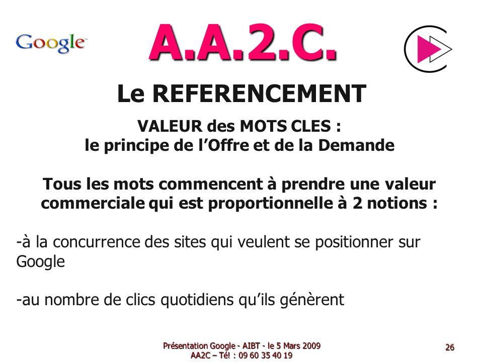 A.A.2.C. Le REFERENCEMENT VALEUR des MOTS CLES : le principe de lOffre et de la Demande Tous les mots commencent à prendre une valeur commerciale qui