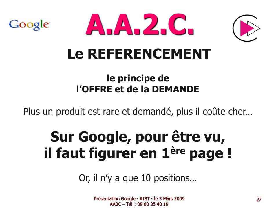 A.A.2.C. Le REFERENCEMENT le principe de lOFFRE et de la DEMANDE Plus un produit est rare et demandé, plus il coûte cher… Sur Google, pour être vu, il