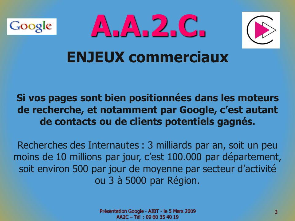 A.A.2.C. ENJEUX commerciaux Si vos pages sont bien positionnées dans les moteurs de recherche, et notamment par Google, cest autant de contacts ou de