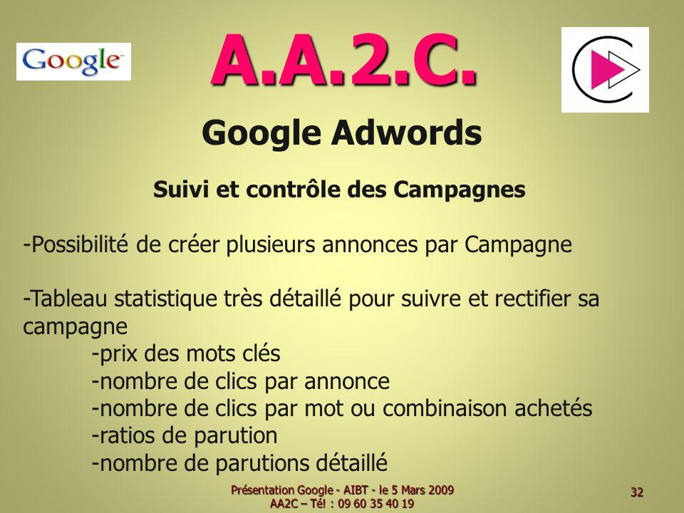 A.A.2.C. Google Adwords Suivi et contrôle des Campagnes -Possibilité de créer plusieurs annonces par Campagne -Tableau statistique très détaillé pour