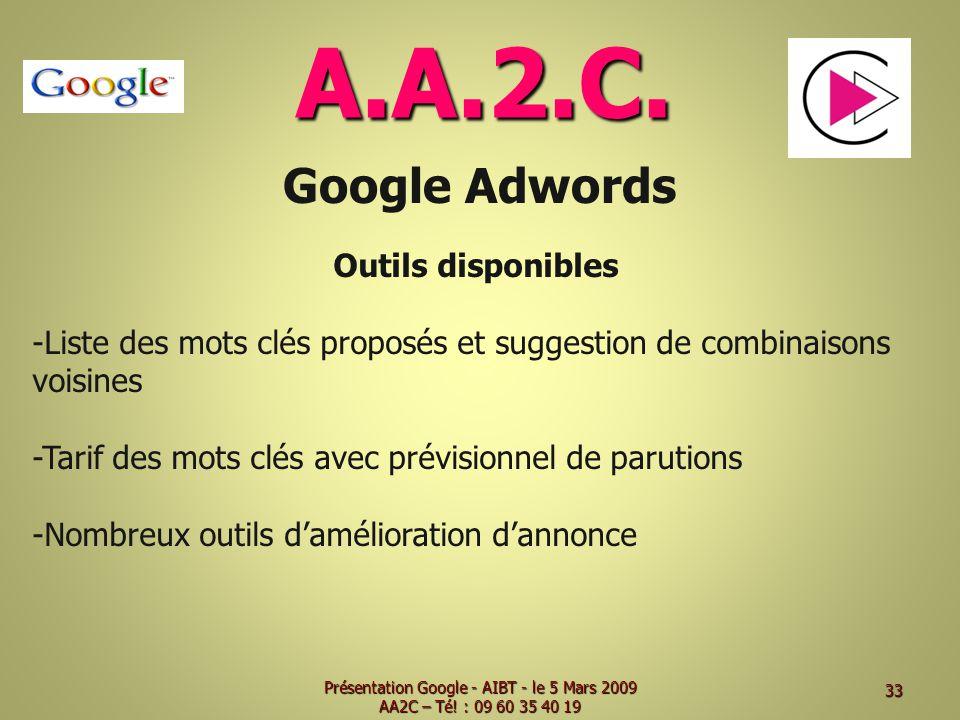A.A.2.C. Google Adwords Outils disponibles -Liste des mots clés proposés et suggestion de combinaisons voisines -Tarif des mots clés avec prévisionnel