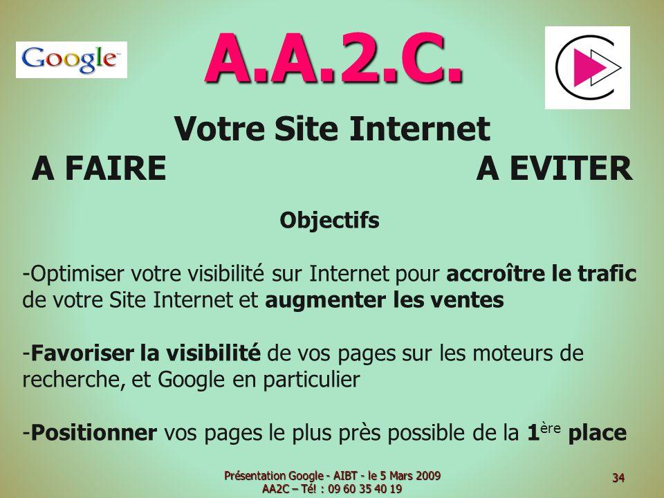 A.A.2.C. Votre Site Internet A FAIRE A EVITER Objectifs -Optimiser votre visibilité sur Internet pour accroître le trafic de votre Site Internet et au
