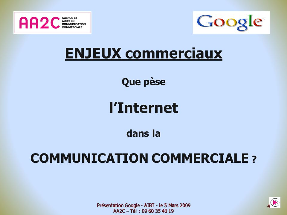 ENJEUX commerciaux (Sources Internet.Gouv Février 2009) - 16,1 millions dabonnés Internet - 58 % des français connectés à lInternet (Février 2009) - 39,3 % des français se disent utilisateurs réguliers - 15 h par semaine : temps moyen sur Internet - 3 millions surfent sur Internet par leur Téléphone mobile - Hausse de 22 % des ventes en lignes en 2008 - 17,9 millions dacheteurs en ligne - 37 % des communications personnelles par Internet (1 er média devant le téléphone portable 35 % et fixe 31 %) - 1,2 milliards deuro : CA pub sur Internet Présentation Google - AIBT - le 5 Mars 2009 AA2C – Té.