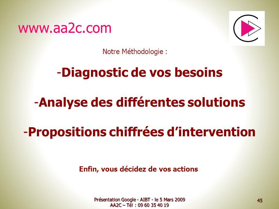 Présentation Google - AIBT - le 5 Mars 2009 AA2C – Té! : 09 60 35 40 19 -Diagnostic de vos besoins -Analyse des différentes solutions -Propositions ch