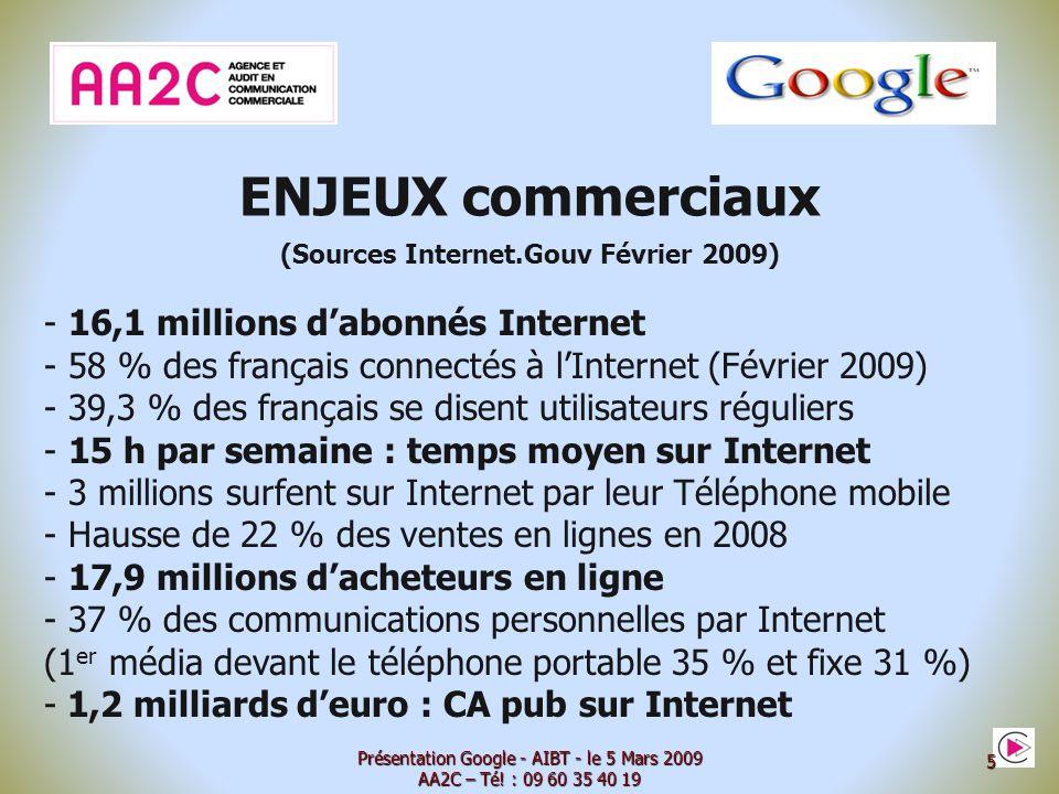 Agence et Audit en Communication Commerciale Internet www.aa2c.com Présentation Google - AIBT - le 5 Mars 2009 AA2C – Té.