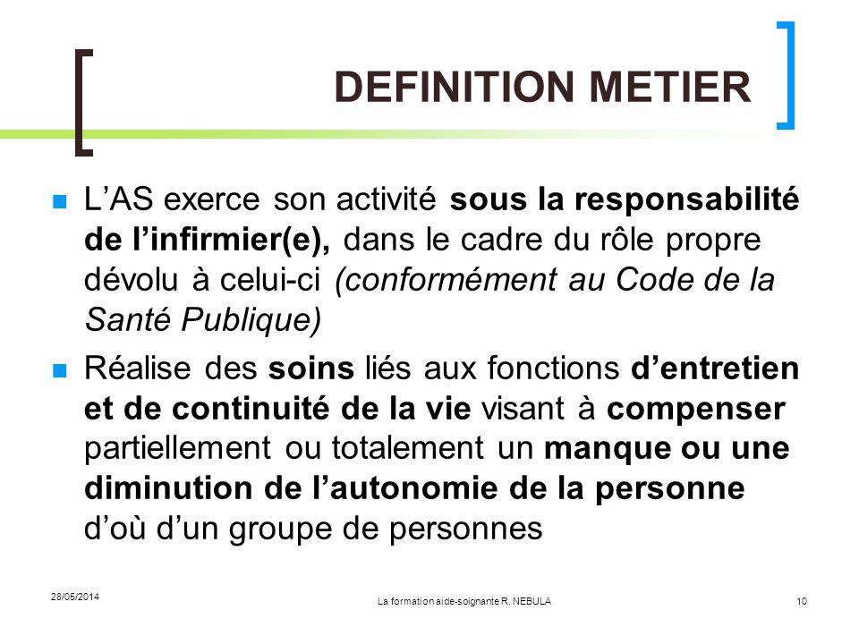 La formation aide-soignante R. NEBULA 28/05/2014 10 DEFINITION METIER LAS exerce son activité sous la responsabilité de linfirmier(e), dans le cadre d