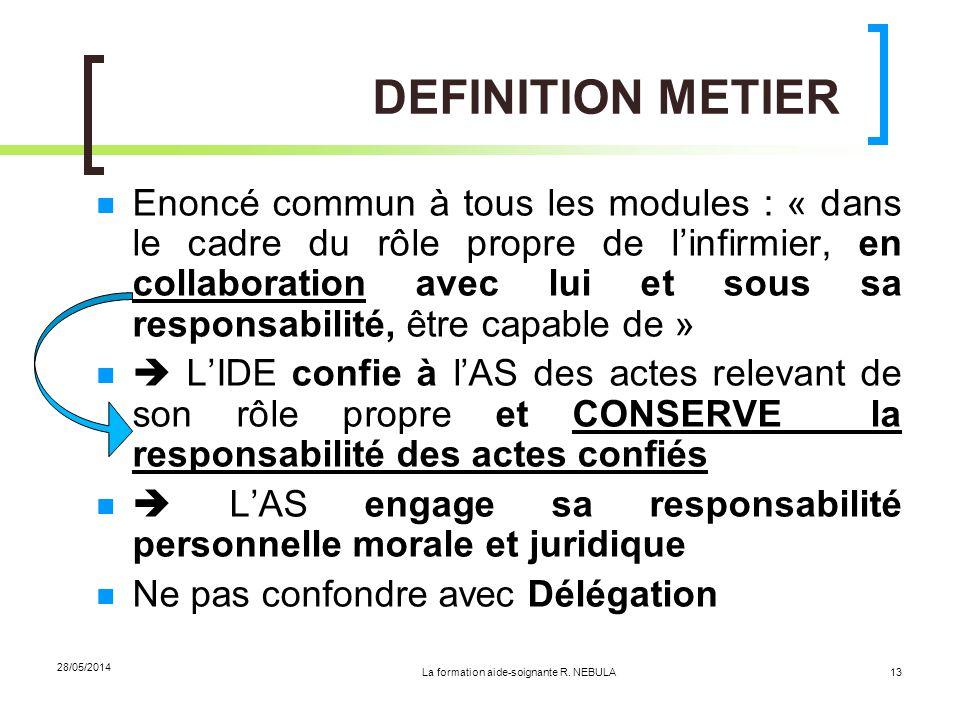 La formation aide-soignante R. NEBULA 28/05/2014 13 DEFINITION METIER Enoncé commun à tous les modules : « dans le cadre du rôle propre de linfirmier,