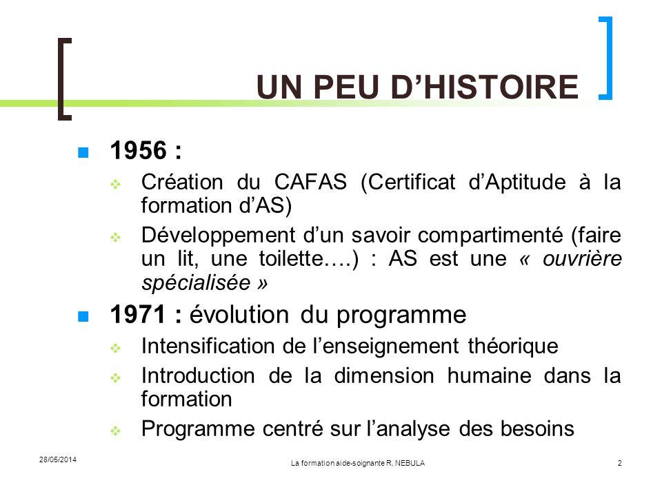28/05/2014 2 UN PEU DHISTOIRE 1956 : Création du CAFAS (Certificat dAptitude à la formation dAS) Développement dun savoir compartimenté (faire un lit,