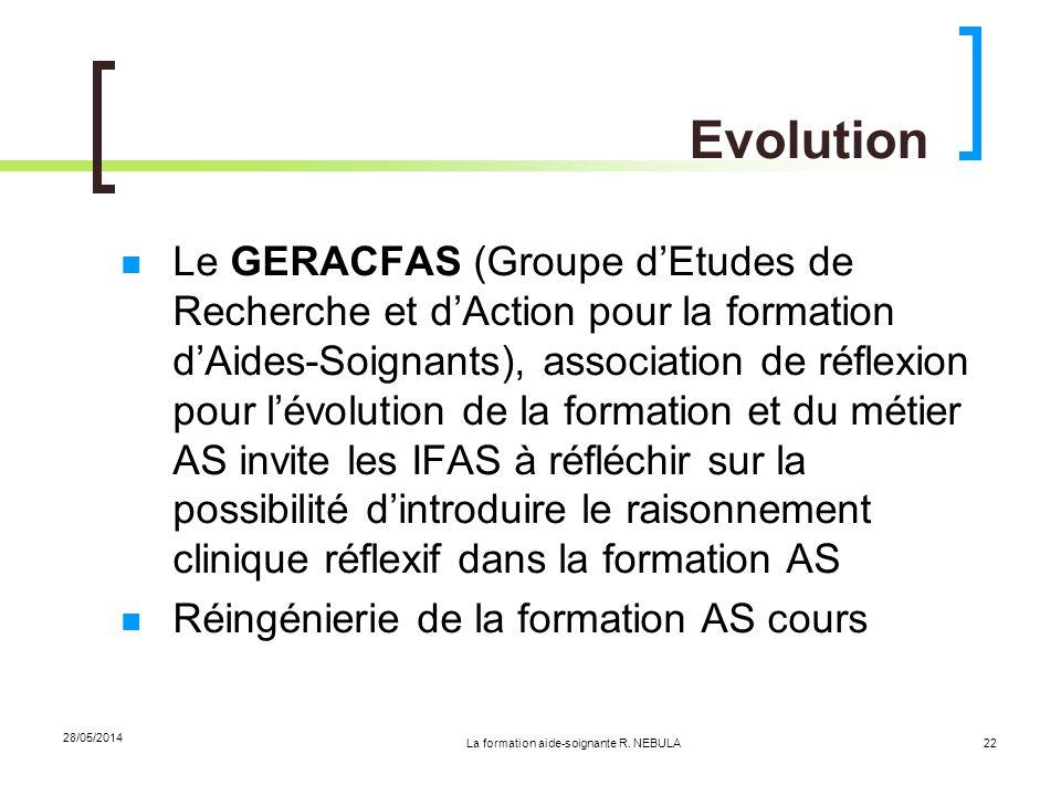 La formation aide-soignante R. NEBULA 28/05/2014 22 Evolution Le GERACFAS (Groupe dEtudes de Recherche et dAction pour la formation dAides-Soignants),