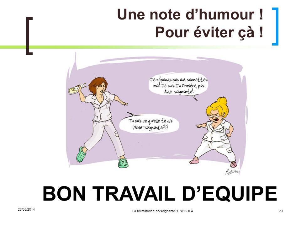 La formation aide-soignante R. NEBULA 28/05/2014 23 Une note dhumour ! Pour éviter çà ! BON TRAVAIL DEQUIPE