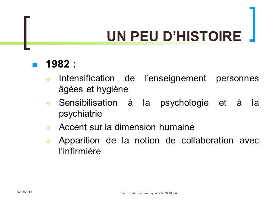 La formation aide-soignante R. NEBULA 28/05/2014 3 UN PEU DHISTOIRE 1982 : Intensification de lenseignement personnes âgées et hygiène Sensibilisation