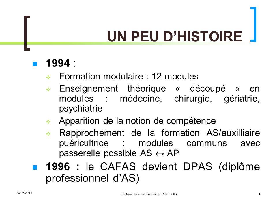 La formation aide-soignante R. NEBULA 28/05/2014 4 UN PEU DHISTOIRE 1994 : Formation modulaire : 12 modules Enseignement théorique « découpé » en modu