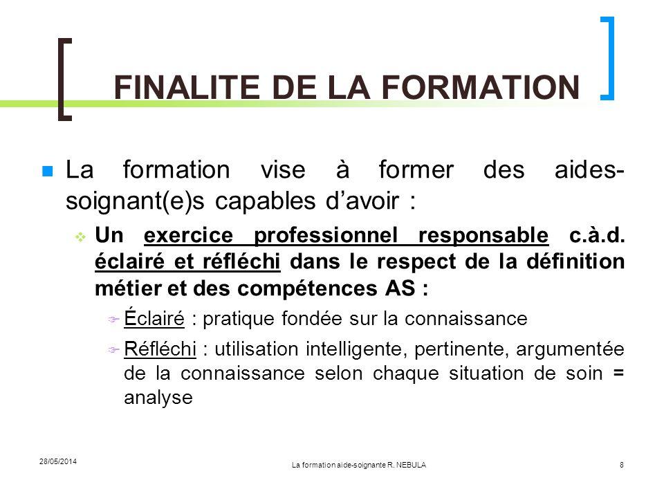 La formation aide-soignante R. NEBULA 28/05/2014 8 FINALITE DE LA FORMATION La formation vise à former des aides- soignant(e)s capables davoir : Un ex