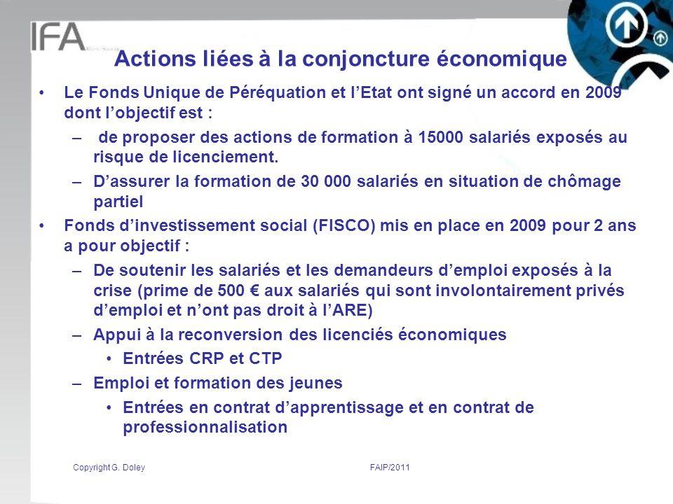 Actions liées à la conjoncture économique Le Fonds Unique de Péréquation et lEtat ont signé un accord en 2009 dont lobjectif est : – de proposer des actions de formation à 15000 salariés exposés au risque de licenciement.