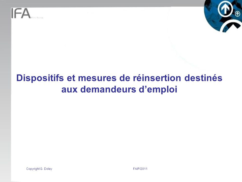 Copyright G. DoleyFAIP/2011 Dispositifs et mesures de réinsertion destinés aux demandeurs demploi