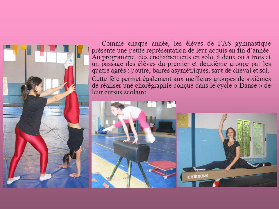 Comme chaque année, les élèves de lAS gymnastique présente une petite représentation de leur acquis en fin dannée.