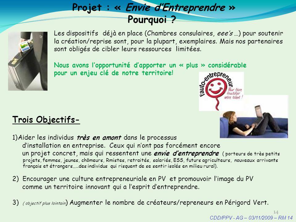 CDD/PPV - AG – 03/11/2009 – RM 14 Projet : « Envie dEntreprendre » Pourquoi .