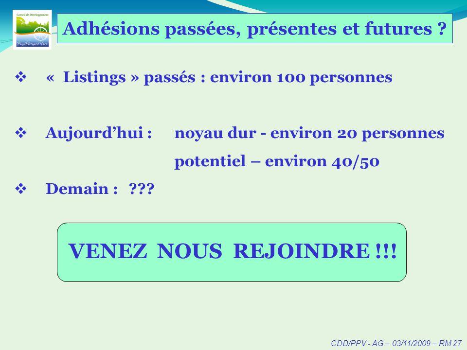 CDD/PPV - AG – 03/11/2009 – RM 27 Adhésions passées, présentes et futures .