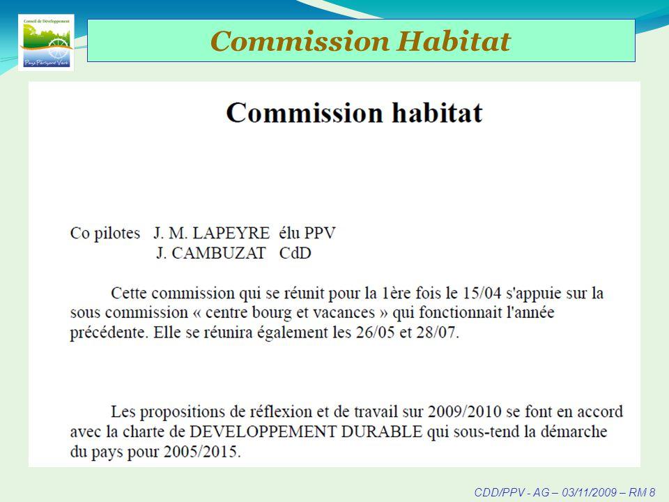 CDD/PPV - AG – 03/11/2009 – RM 8 Commission Habitat