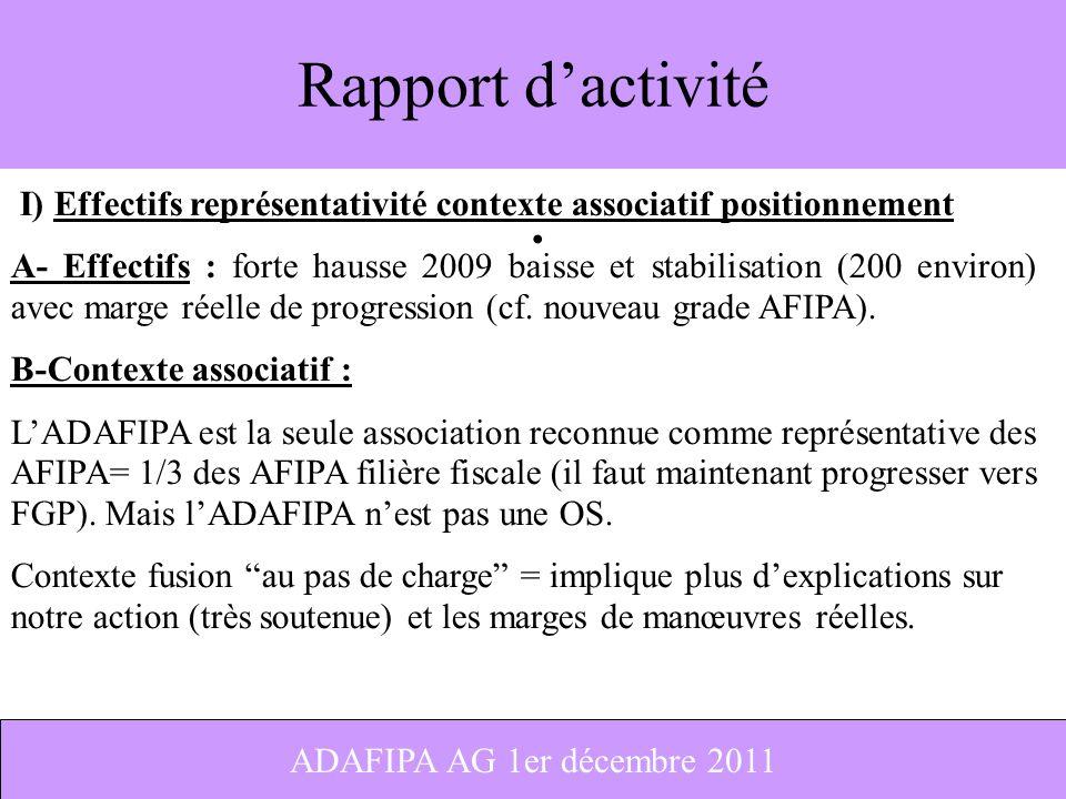 1 Rapport dactivité I) Effectifs représentativité contexte associatif positionnement A- Effectifs : forte hausse 2009 baisse et stabilisation (200 env