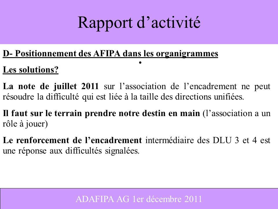 12 Rapport dactivité D- Positionnement des AFIPA dans les organigrammes Les solutions? La note de juillet 2011 sur lassociation de lencadrement ne peu