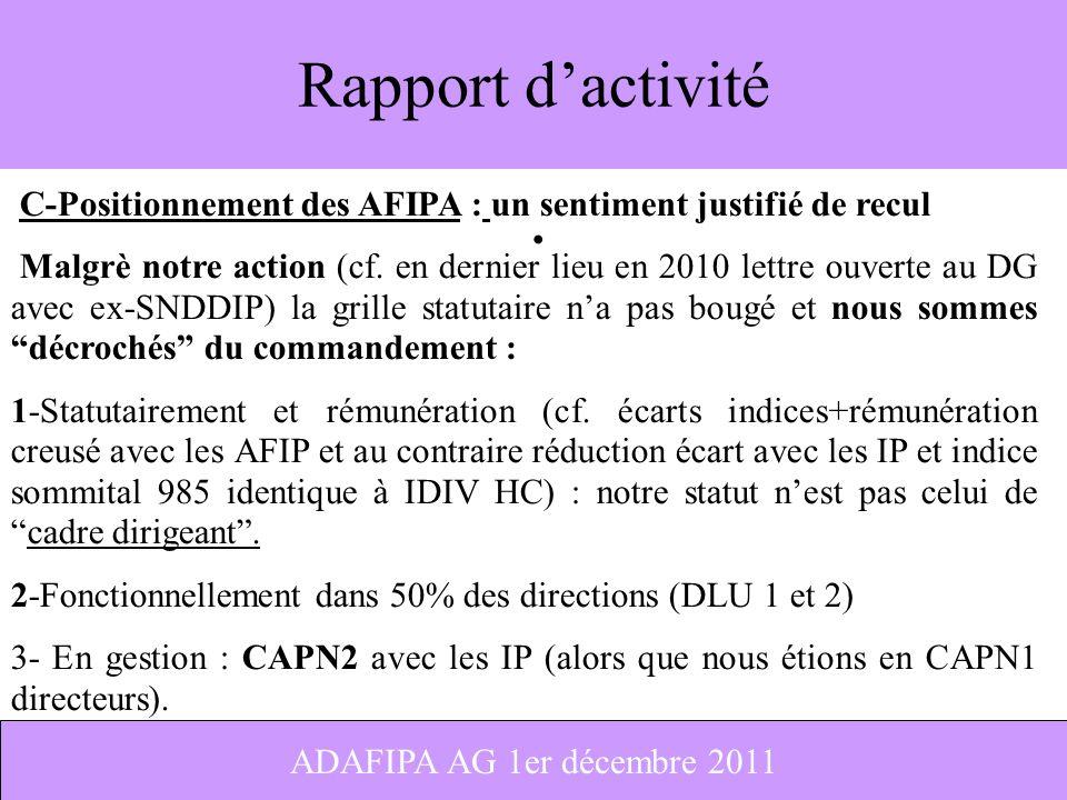 2 Rapport dactivité C-Positionnement des AFIPA : un sentiment justifié de recul Malgrè notre action (cf. en dernier lieu en 2010 lettre ouverte au DG