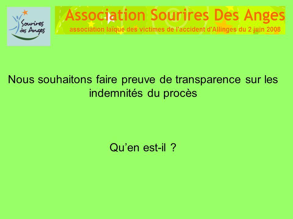 Nous souhaitons faire preuve de transparence sur les indemnités du procès Quen est-il ?