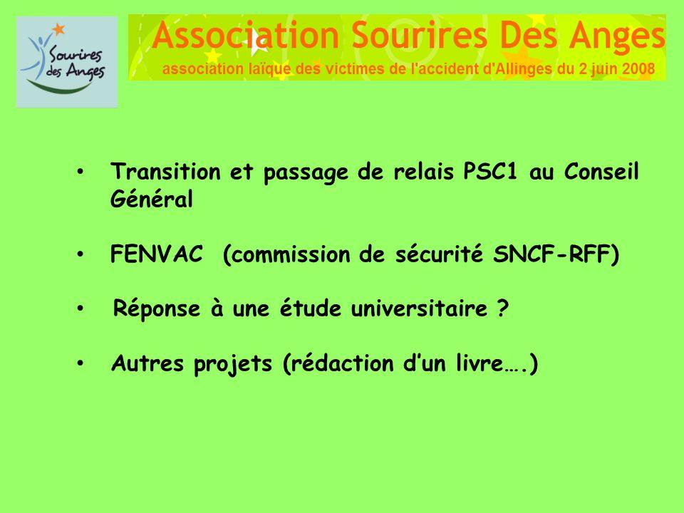 Transition et passage de relais PSC1 au Conseil Général FENVAC (commission de sécurité SNCF-RFF) Réponse à une étude universitaire ? Autres projets (r