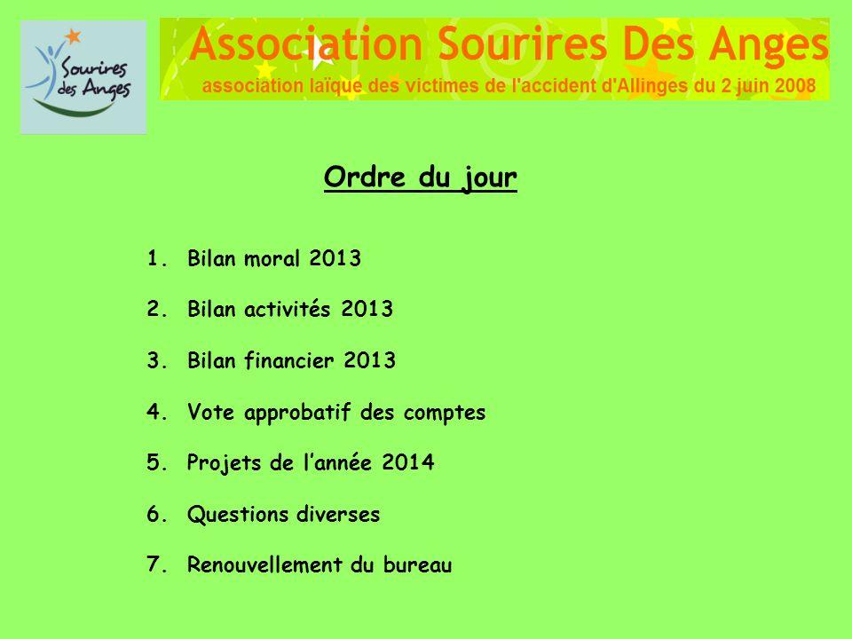 Ordre du jour 1. Bilan moral 2013 2. Bilan activités 2013 3. Bilan financier 2013 4. Vote approbatif des comptes 5. Projets de lannée 2014 6. Question