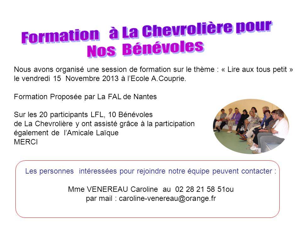 Nous avons organisé une session de formation sur le thème : « Lire aux tous petit » le vendredi 15 Novembre 2013 à lEcole A.Couprie.