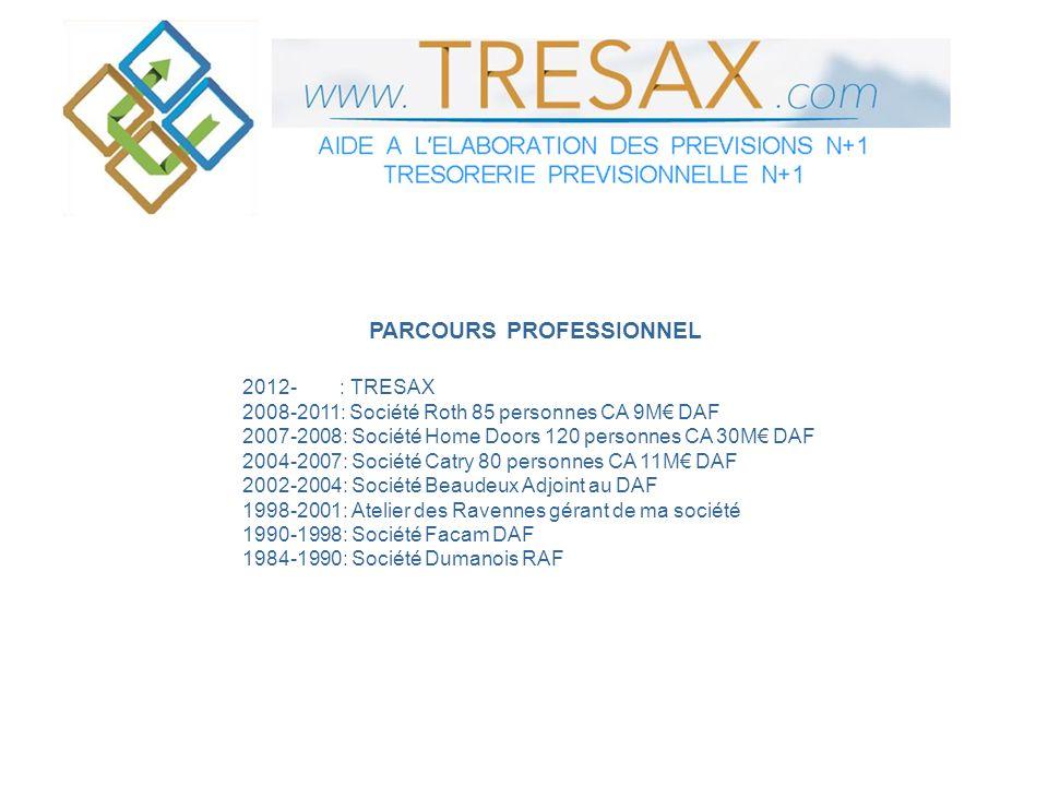 PARCOURS PROFESSIONNEL 2012- : TRESAX 2008-2011: Société Roth 85 personnes CA 9M DAF 2007-2008: Société Home Doors 120 personnes CA 30M DAF 2004-2007:
