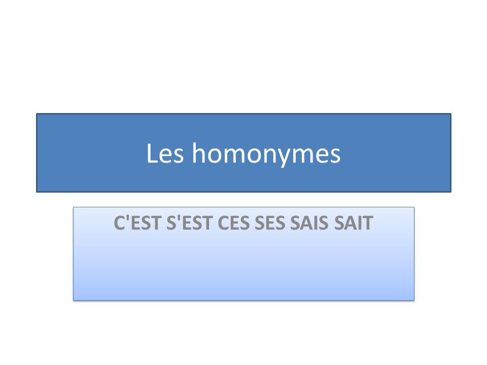 Les homonymes C'EST S'EST CES SES SAIS SAIT