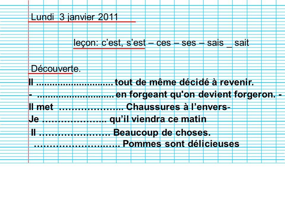 Lundi 3 janvier 2011 leçon: cest, sest – ces – ses – sais _ sait Découverte. Il............................. tout de même décidé à revenir. -.........