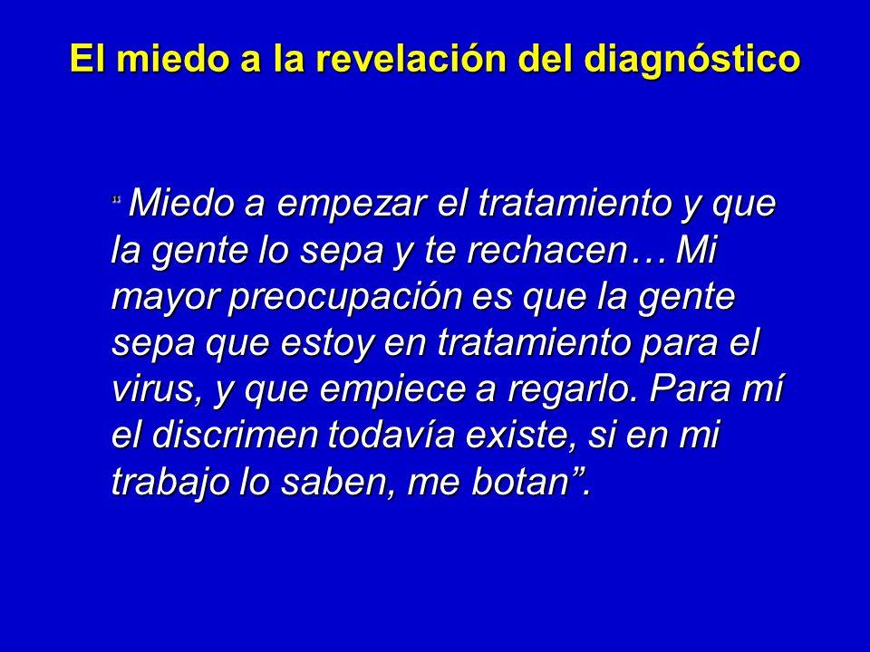 Miedo a empezar el tratamiento y que la gente lo sepa y te rechacen… Mi mayor preocupación es que la gente sepa que estoy en tratamiento para el virus, y que empiece a regarlo.