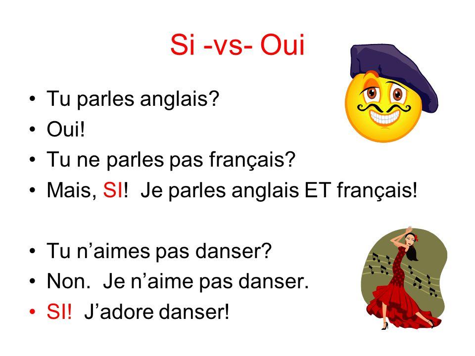 Si -vs- Oui Tu parles anglais? Oui! Tu ne parles pas français? Mais, SI! Je parles anglais ET français! Tu naimes pas danser? Non. Je naime pas danser