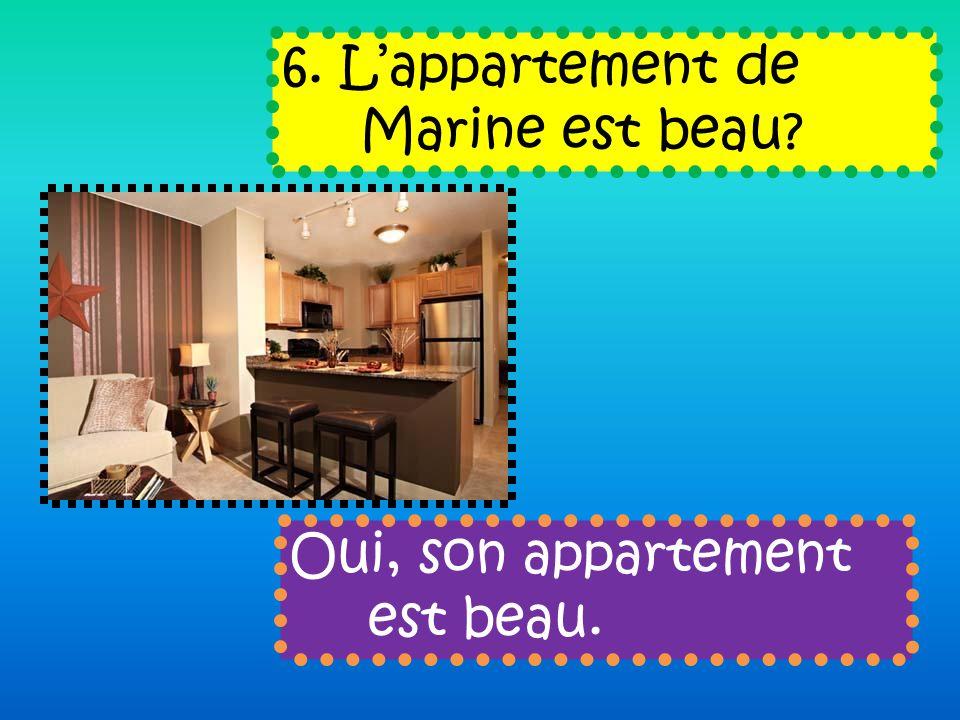 6. Lappartement de Marine est beau Oui, son appartement est beau.